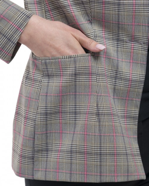 Veste Tailleur Coupe Cintrée à Carreaux