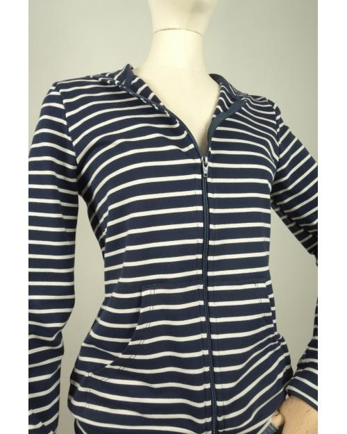 Sweat à capuche zippé en coton rayé bleu et blanc