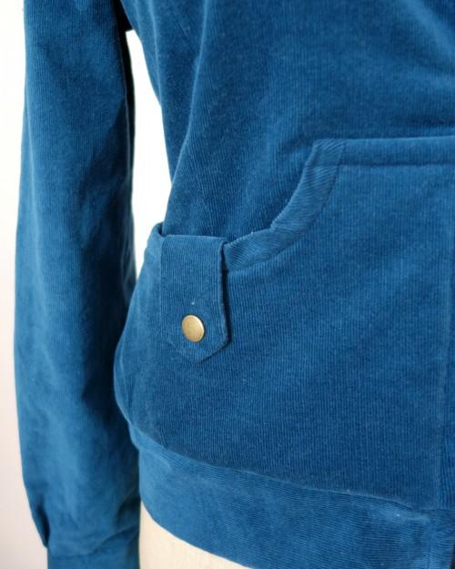 Blouson Vintage velours bleu à Fourrure