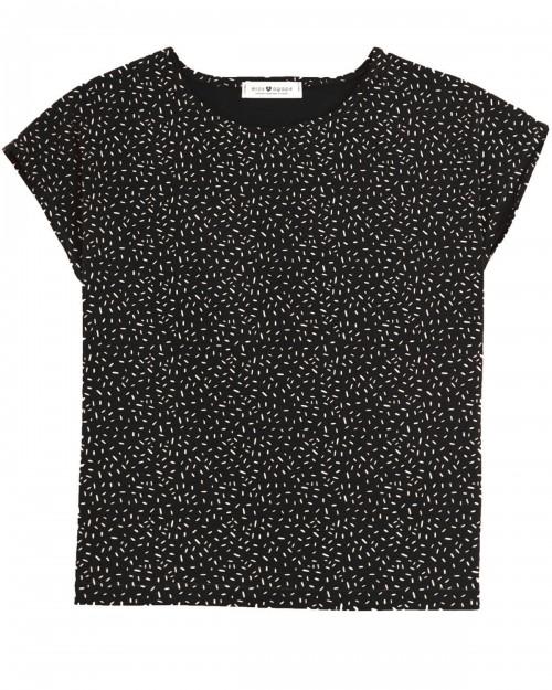 Top en coton bio noir à motif Confetti Aurore fabriqué à Toulouse en France