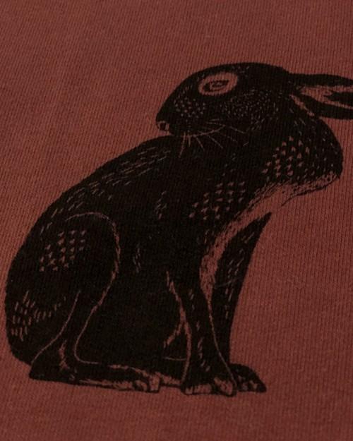 Pull vegan  Jäger en coton bio terracotta à motif lapin fabriqué en France à Toulouse