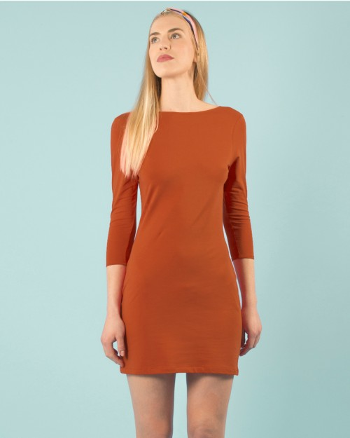 Robe Terracotta dos nu sexy en coton bio éco-responsable vegan made in France