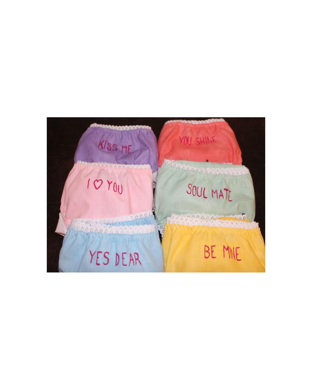 Culottes à message couleurs acidulées heart candies