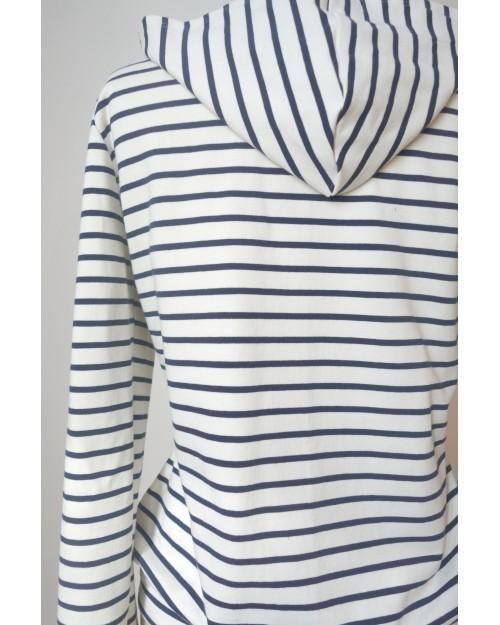 Sweat à capuche zippé en coton rayé blanc et bleu